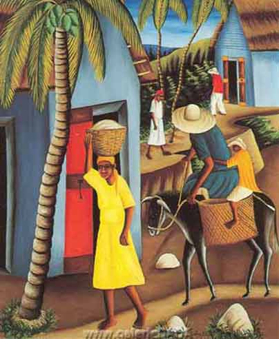 Castera Bazile, Village Scene Fine Art Reproduction Oil Painting