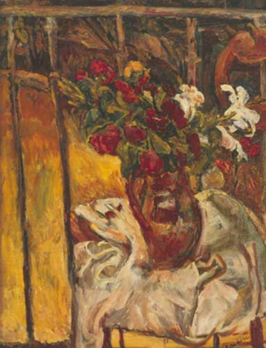 Chaim Soutine, Bouquet of Flowers on a Balcony Fine Art Reproduction Oil Painting