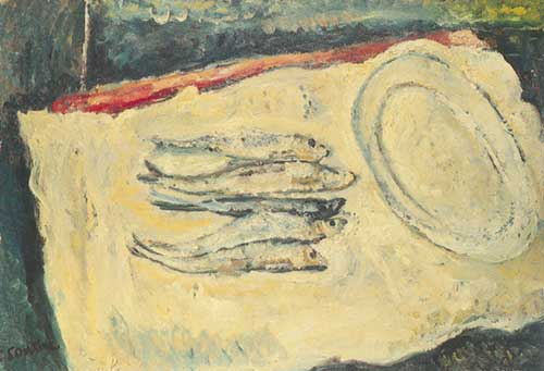 Chaim Soutine, Still Life with Herrings and an Oval Plate Fine Art Reproduction Oil Painting