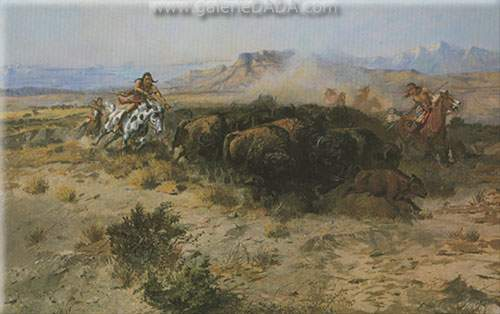 Charles M. Russell, Buffalo Hunt No.26 Fine Art Reproduction Oil Painting