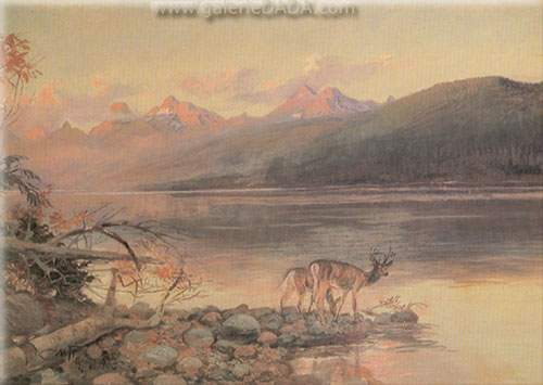 Charles M. Russell, Deer at Lake McDonald Fine Art Reproduction Oil Painting