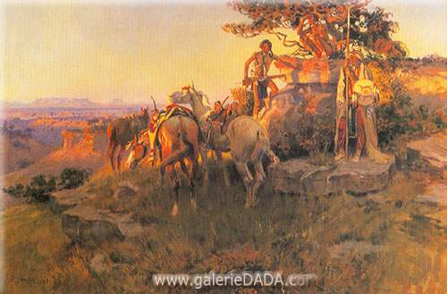 Charles M. Russell, Watching for Wagons Fine Art Reproduction Oil Painting