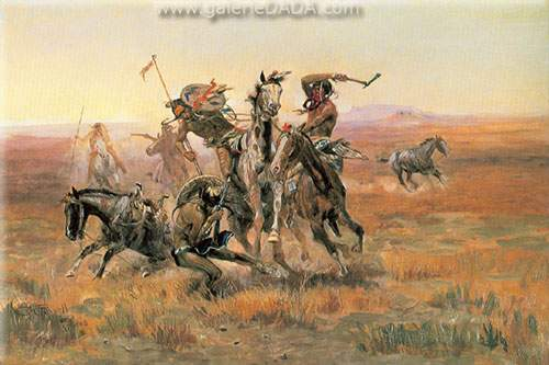 Charles M. Russell, When Blackfeet and Sioux Meet Fine Art Reproduction Oil Painting