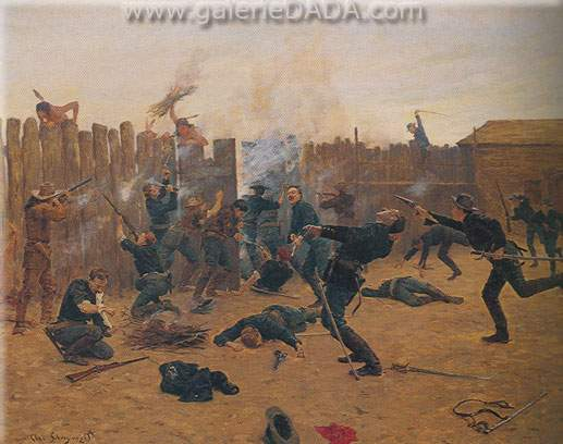 Charles Schreyvogel, Defending the Stockade Fine Art Reproduction Oil Painting