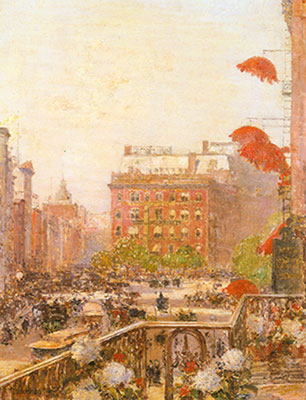 Childe Hassam, View of Broadway and Fifth Avenue Fine Art Reproduction Oil Painting