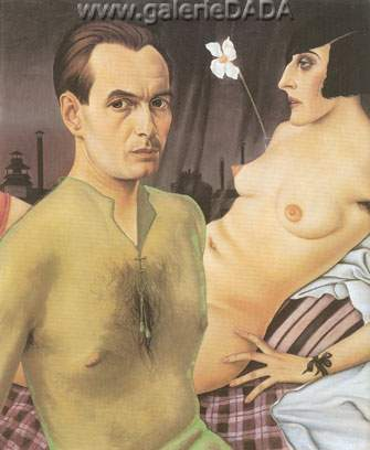 Christian Schad, Self-Portrait with Model Fine Art Reproduction Oil Painting