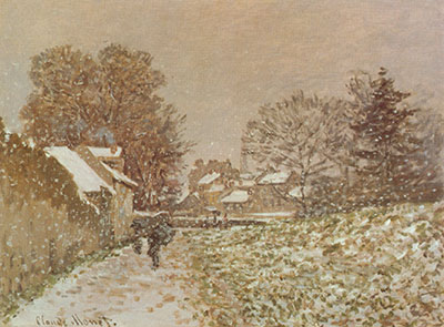 Claude Monet, Snow At Argenteuil Fine Art Reproduction Oil Painting