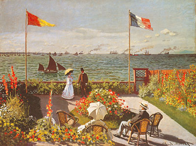 Claude Monet, Terrace at the Seaside, Sainte Adresse Fine Art Reproduction Oil Painting
