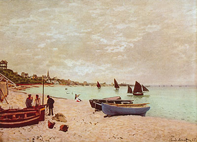Claude Monet, The Beach at Sainte-Adresse Fine Art Reproduction Oil Painting