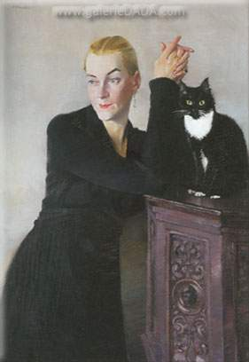 Conrad Felixmuller, Woman with a Cat Fine Art Reproduction Oil Painting