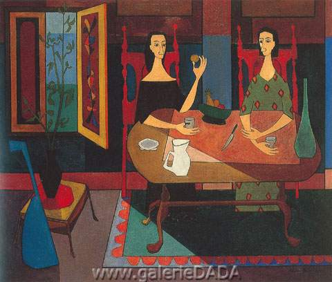 Dos Mujeres a la Mesa - Cundo Cundo, Fine Art Reproduction Oil Painting