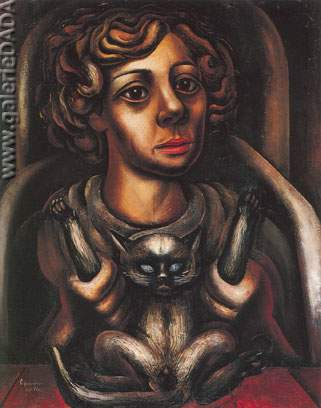 David Alfaro Siqueiros, Mujer y Gato Fine Art Reproduction Oil Painting