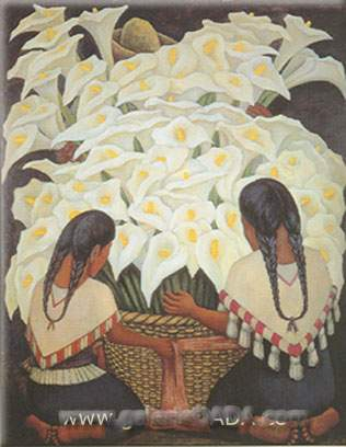 Diego Rivera, Calla Lily Vendor Fine Art Reproduction Oil Painting