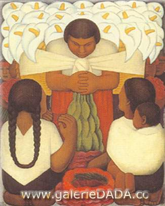 Diego Rivera, Flower Day Fine Art Reproduction Oil Painting