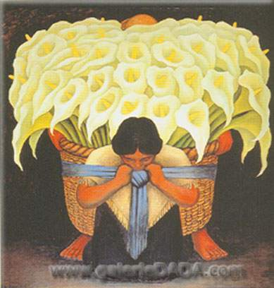 Diego Rivera, Flower Seller Fine Art Reproduction Oil Painting
