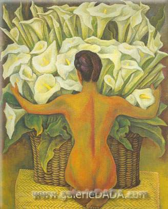 Diego Rivera, Nude with Calla Lilies Fine Art Reproduction Oil Painting