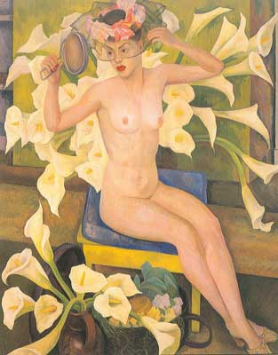 Diego Rivera, Nude with Flowers Fine Art Reproduction Oil Painting