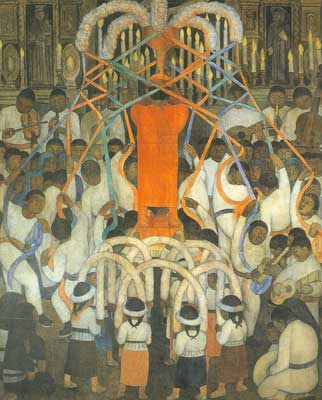Diego Rivera, Ribbon Dance Fine Art Reproduction Oil Painting