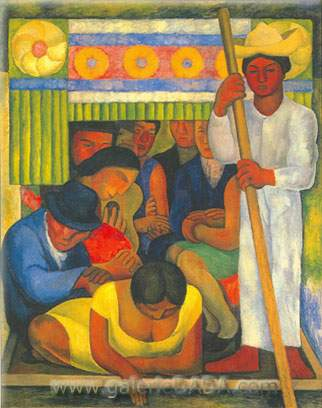Diego Rivera, The Flowered Canoe Fine Art Reproduction Oil Painting