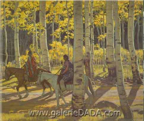 E. Martin Hennings, Through Sunlit Aspens Fine Art Reproduction Oil Painting
