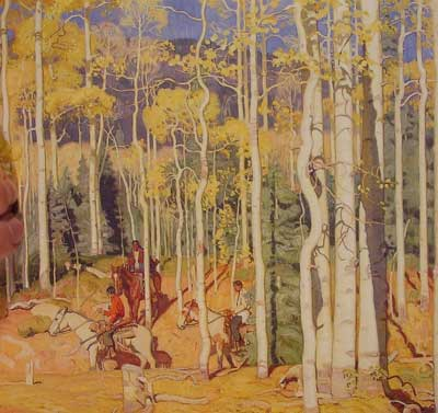 E. Martin Hennings, Through the Aspens Fine Art Reproduction Oil Painting