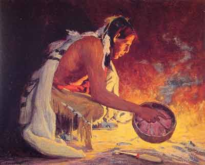 Eanger Irving Couse, Indian by Firelight Fine Art Reproduction Oil Painting