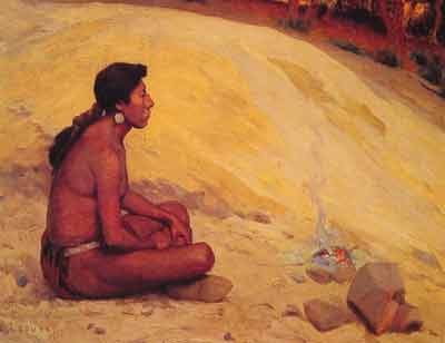 Eanger Irving Couse, Indian Seated by a Campfire Fine Art Reproduction Oil Painting