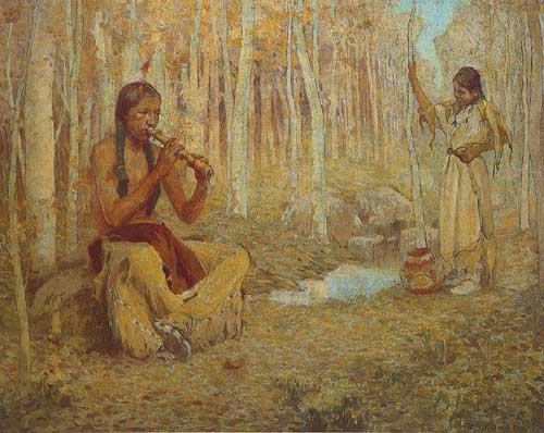 Eanger Irving Couse, The Flute Song Fine Art Reproduction Oil Painting