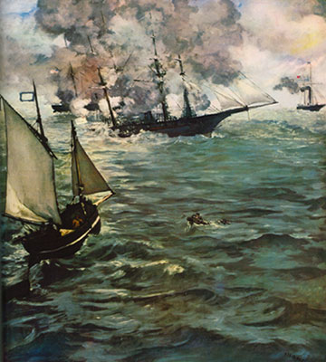 Edouard Manet, Alabama and Kearsarge Fine Art Reproduction Oil Painting