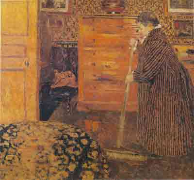Edouard Vuillard, Woman Sweeping in a Room Fine Art Reproduction Oil Painting