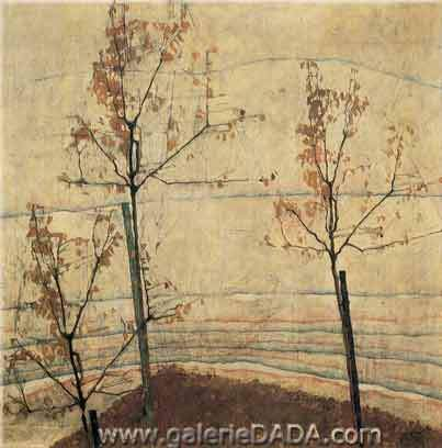 Egon Schiele, Autumn Trees Fine Art Reproduction Oil Painting