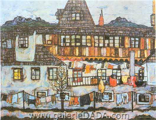 Egon Schiele, Surburban House with Washing Fine Art Reproduction Oil Painting