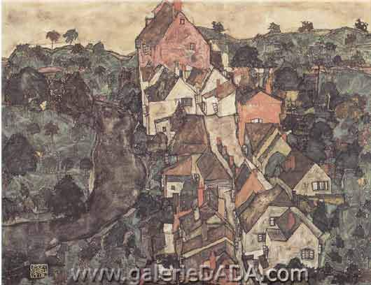 Egon Schiele, View of Krumau Fine Art Reproduction Oil Painting