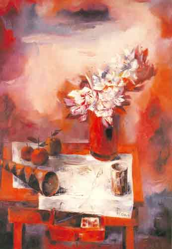 Enrique Grau, Still Life in Red Fine Art Reproduction Oil Painting
