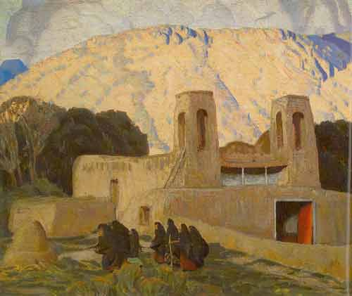 Ernest L. Blumenschein, Church at Chimayo Fine Art Reproduction Oil Painting