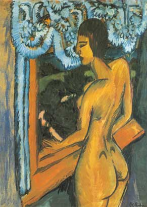 Ernst Ludwig Kirchner, Brown Nude at the Window Fine Art Reproduction Oil Painting