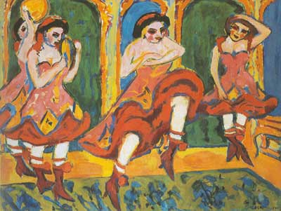 Ernst Ludwig Kirchner, Czardas Dancers Fine Art Reproduction Oil Painting