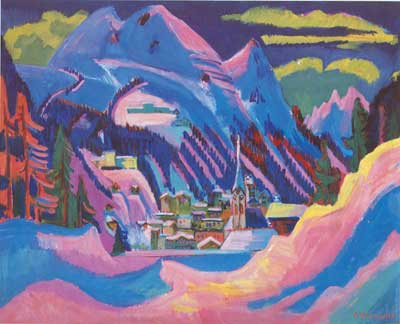 Ernst Ludwig Kirchner, Davos in the Snow Fine Art Reproduction Oil Painting