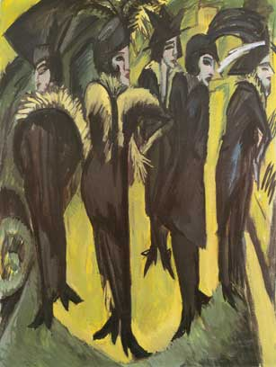 Ernst Ludwig Kirchner, Five Women on the Street Fine Art Reproduction Oil Painting