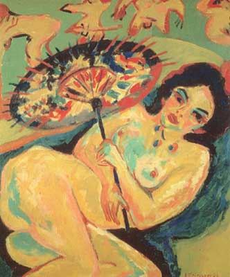 Ernst Ludwig Kirchner, Girl under a Japanese Parasol Fine Art Reproduction Oil Painting