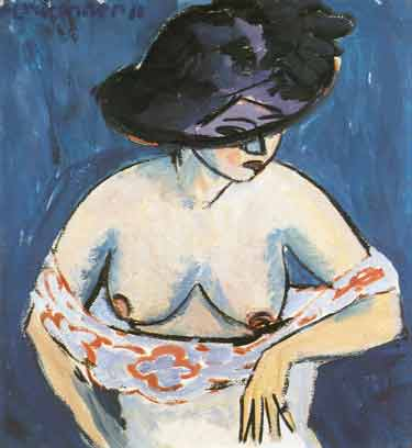Ernst Ludwig Kirchner, Half-Nude with a Hat Fine Art Reproduction Oil Painting