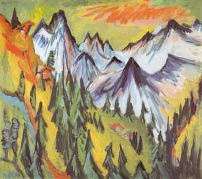 Ernst Ludwig Kirchner, Mountain Peaks Fine Art Reproduction Oil Painting