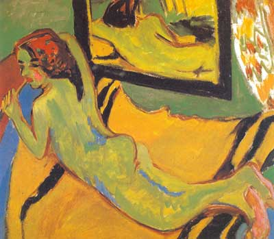 Ernst Ludwig Kirchner, Reclining Nude with a Mirror Fine Art Reproduction Oil Painting