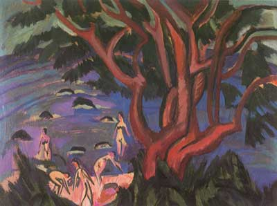 Ernst Ludwig Kirchner, Red Tree on a Shore Fine Art Reproduction Oil Painting