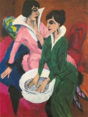 Ernst Ludwig Kirchner, Two Women with a Washbasin Fine Art Reproduction Oil Painting