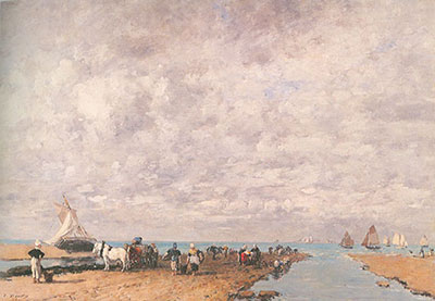 Eugene Boudin, Trouville, Low Tide Fine Art Reproduction Oil Painting