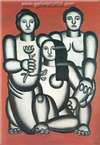 Fernand Leger, Three Women against a Red Background Fine Art Reproduction Oil Painting
