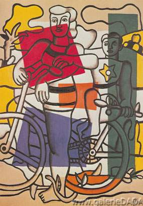 Fernand Leger, Two Girls on Bicycles Fine Art Reproduction Oil Painting