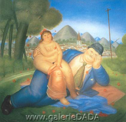 Fernando Botero, Loving Couple Fine Art Reproduction Oil Painting