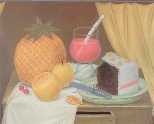 Fernando Botero, Still Life with Cake Fine Art Reproduction Oil Painting
